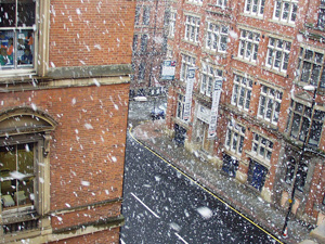 Manchester road snow scene